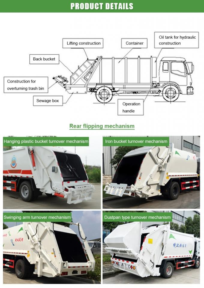 Self Compressing Garbage Compactor Truck Rear Loading 4CBM With Hydraulic Control