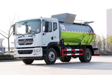 Cylinder Shape Container Garbage Truck , Diesel Engine Garbage Collection Truck