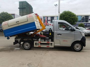 Mini Changan Pull Arm Hook Lift Garbage Truck / Refuse Removal Truck 1CBM 2CBM
