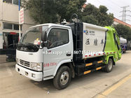 White And Green 6CBM Refuse Collection Truck , Waste Compactor Truck 102HP