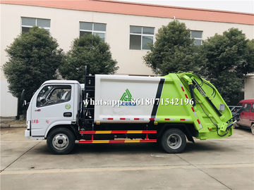 China 3 Ton Hydraulic Rubbish Compactor Truck , Rear Loader Garbage Truck Logo Printed distributor